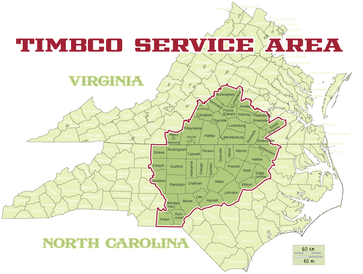 Timber harvesting service area NC VA